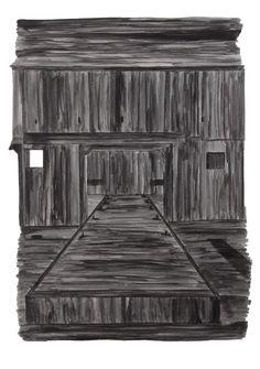Unknown black substance #4, bunker-roet-inkt op papier, 21 x 30 cm.  De inkt is nu op, ik kon er precies deze vier tekeningen mee maken.