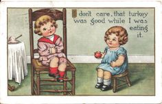 Two Campbell Soup Type Children Postcard - After Thanksgiving Dinner from antique-ables on Ruby Lane