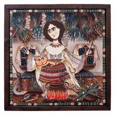 "Canvas painting, ""Șaraiman"", 40x40 Acrylic Painting Techniques, Acrylic Painting Canvas, Painting On Wood, Canvas Paintings, Rusalka, Fairest Of Them All, Acrylic Frames, Free Sign, Wooden Frames"