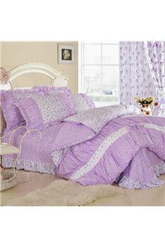 Flower-Lavender Dream Cotton 4-piece Queen/King Size Duvet Covers