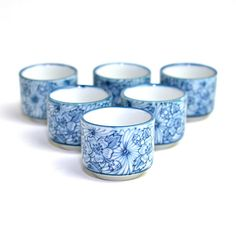 #Vintage #Sake Cups Set  6 Traditional #Japanese #Porcelain #Teacups #Serving by OneRustyNail on #Etsy