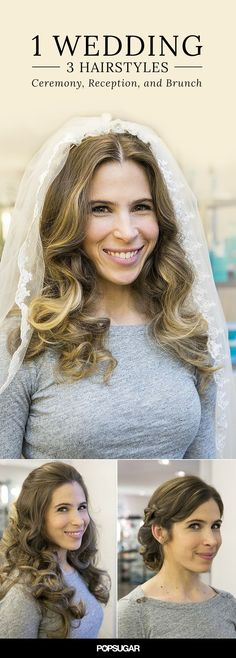 Who needs a hairstylist to come to your wedding when you can easily DIY your look? This tutorial is actually three! Try one style or all three for your wedding day —beach waves for the ceremony, a half-up style for the reception, and a braided updo for next day's brunch.