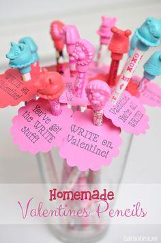 Homemade pencil Valentines craft idea