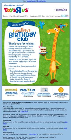 Toys R Us Birthday Club Email Dec 2013