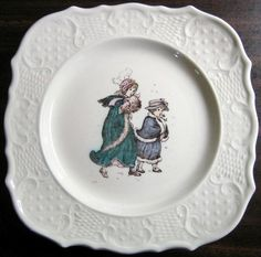 Decorative Dishes (http://www.decorativedishes.net/vintage-usa-winter-girls-kate-greenaway-square-scroll-edge-plate/)