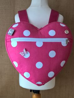girl's, toddler pink polka dot heart backpack, school bag, day bag, holiday bag, with an option to purchase a matching coin purse by grannyhodgesewing on Etsy