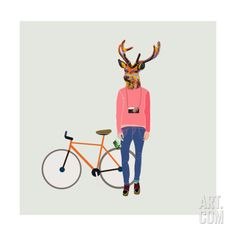 """A honey of a gift for your """"deer,"""" the Fashionable Hipster Deer Wall Art makes an offbeat statement while bringing color and panache. Minimalist Music, Cheap Wall Decor, Your Spirit Animal, Deer Art, Affordable Wall Art, Cool Posters, Typography Poster, Frames On Wall, Framed Wall"""