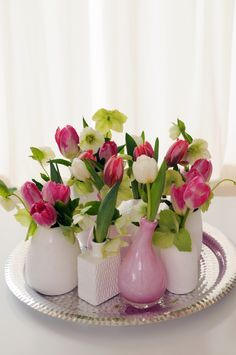 Lovely display of pink & white tulips