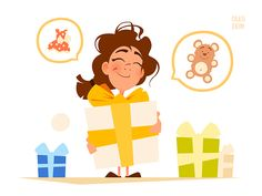 Happy Girl and Big Gift Box Vector Character Design Illustration