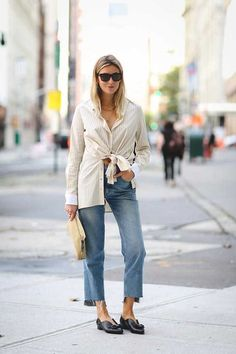 ELLE Street Style: NYFW S/S 2016 Camille Charriere wearing a Rosetta Getty shirt, MiH jeans, Laurence Dacade shoes and a Loewe clutch
