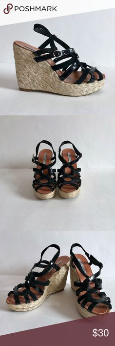 Lovely People Suede & Patent Leather Strappy Wedge Brand: Lovely People Condition: NEW WITHOUT BOX. There is one very small blemish that it shown in the last photo Color: Black Size Type: Regular Size (Women's): 8 MSRP: $120 Lovely People Shoes Wedges