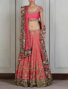 Pink color raw silk lehega choli – Panache Haute Couture