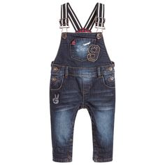 A cute pair of dungarees for little boys by Catimini made in soft, stretchy denim for a comfortable, flexible fit. With a worn and faded look, they have adjustable shoulder straps that can be extended as baby grows. There are button fasteners at the sides and poppers between the legs for easy dressing and nappy changes.