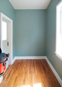 The color: Stratton Blue by Benjamin Moore, and we had it color matched to Valspar Optimus paint in an eggshell finish by ginger
