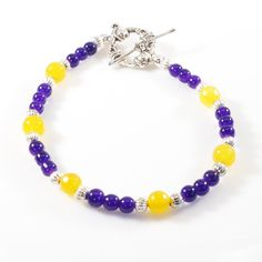 Women's Purple and Gold Beaded Bracelet by DungleBees on Etsy