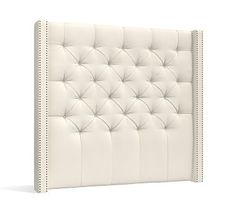 Harper Upholstered Tufted Tall Headboard, Full, Textured Basketweave Ivory