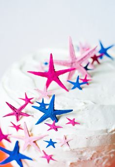 There's nothing like a bright starfish to pull any party quickly into summer. These little guys are pure festive party fun! Starfish Cake, Star Cakes, Under The Sea Party, Colorful Fish, Summer Treats, Cupcake Cakes, Cupcakes, Piece Of Cakes, Summer Parties