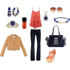 Navy and Peach, created by mallory-batzer on Polyvore