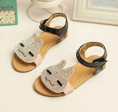 New Korean Summer Girls Shoes Rhinestone Rabbit Bright  Sandals S0421