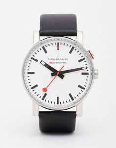 Image 1 of Mondaine Evo Black Leather Strap Watch With Alarm