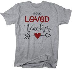 Men's Loved Teacher T Shirt Teacher T Shirts Arrow Valentine's Day Shirts Gift For Teacher Heart Tee TShirt Love Teacher, Teacher Valentine, Valentines Day Shirts, Valentines Diy, T Shirt And Shorts, Tee Shirts, T Shirt World, Raglan, Teacher Shirts