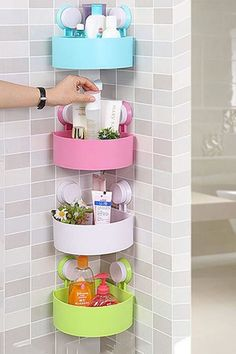 $10 BUY NOW The suction cups on these organizers allow for easy installation in your shower and putawkward spaces to work. They come individually, so you can stack as many as you want in a row.