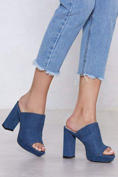 The Patch Up Mule comes in denim-inspired fabric and features patchwork detailing, open toe, and skinny block heel. Denim Heels, Denim Sandals, Denim Boots, Wedge Boots, Shoe Boots, Shoe Bag, Sneakers Fashion, Fashion Shoes, Runway Fashion