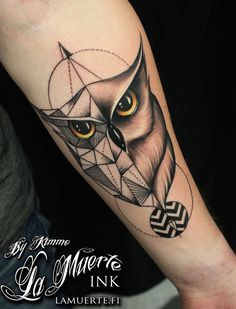 Geometric owl tattoo by Kimmo Angervaniva @ La Muerte Ink