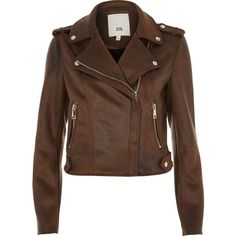 River Island Brown faux suede biker jacket ($120) ❤ liked on Polyvore featuring outerwear, jackets, brown, coats / jackets, women, motorcycle jacket, rider jacket, tall jackets, brown jacket and faux suede biker jacket