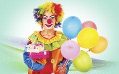 Bright, funny, clown, costume balls