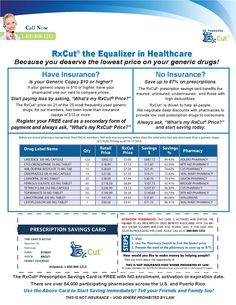 RxCut® the Equalizer in Healthcare. Because you deserve the lowest price on your generic drugs! #RxCut #healthcare #Insurance