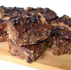 Triple Chocolate Chunk Protein Brownies - Protein Treats by Nicolette Makes 16 servings 1 serving = 1 square   MACROS for 1 square:  82 calories, 5.2g protein, 9.5g carbs, 4.4g fiber, 2.8g fat, 1.7g sugar