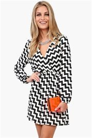 Chevron Wrap Dress in Black