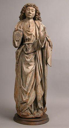 German. St. John, ca. 1500. Oak, with polychromy. Dimensions: Overall: 28 7/8 x 9 13/16 x 6 5/8in. (73.4 x 25 x 16.8cm). Public Domain.