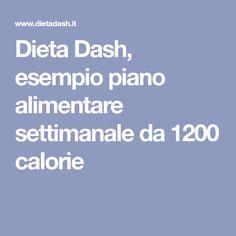 Dieta Dash, esempio piano alimentare settimanale da 1200 calorie