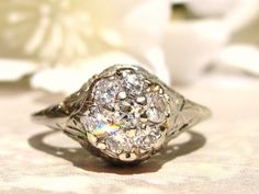 Antique Art Deco Engagement Ring 0.75ctw by LadyRoseVintageJewel