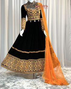Black Party Dresses, Wedding Dresses For Girls, Girls Dresses, Girls Fashion Clothes, Girl Fashion, Fashion Outfits, Fashion Shoes, Afghan Clothes, Afghan Dresses