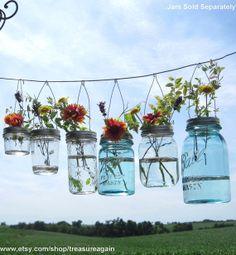Hanging Mason Jar Flower Lids by treasureagain@etsy