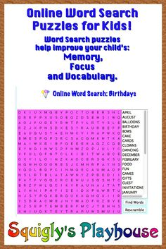 Free Online Word Search puzzle that can be played over and over again!