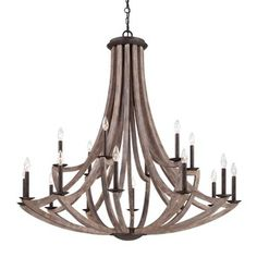 Eurofase E25589016 Arcata Large Foyer Chandelier Chandelier - Wood / Bronze