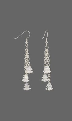 Jewelry Design - Earrings with Swarovski® Crystals and Silver-Plated Brass Chain - Fire Mountain Gems and Beads Jewelry Design Earrings, Diy Earrings, Designer Earrings, Crystal Jewelry, Beaded Jewelry, Mixed Media Jewelry, Christmas Jewelry, How To Make Earrings, Jewelry Crafts