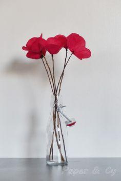 Coquelicots - bouquet de cinq coquelicots en papier de soie