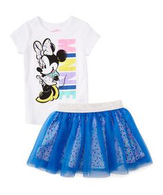 White & Blue Polka Dot 'Minnie' Top & Skirt - Girls