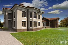 Проект загородного дома: архитектура, 2 эт | 6м, жилье, эклектика, 500 - 1000 м2, фасад - штукатурка, фасад - дерево, коттедж, особняк #architecture #2fl_6m #housing #eclecticism #500_1000m2 #facade_plaster #facade_wood #cottage #mansion