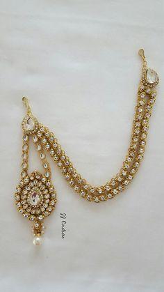 Designer Bollywood Gold Kundan Matha Patti Gold Side Matha Patti Indian Headpiece Gold Headpiece Gold Kundan Maang Tikka Kundan Jewelry