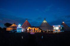 Tipis by night - Derbyshire Sami Tipi Wedding - Captured by Humpston & Bull