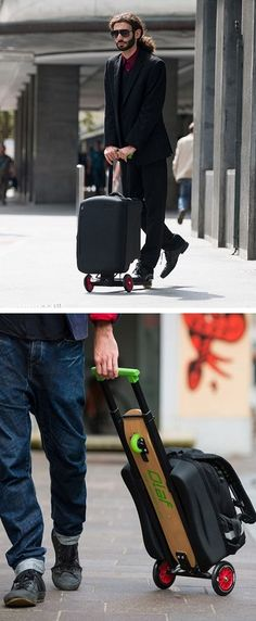 OLAF KickScooter – The scooter-suitcase hybrid. Check out more innovative travel bags to add some fun and functionality to your trip >> http://angloberry.com/10-innovative-travel-bags-to-add-some-fun-and-functionality-to-your-trip #travel #cool #backpacks #smart #bags #luggage #suitcases