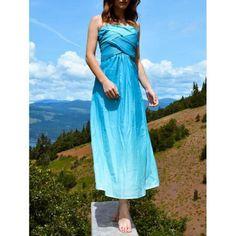 Chic Sleeveless Strapless Ombre Women's Maxi Dress