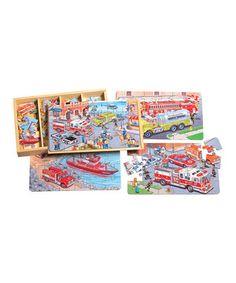 Make way! These very important vehicles have places to go and people to help. Little ones put these four 24-piece jigsaws together to reveal action-packed scenes featuring fire trucks, water tankers, police cars and more. Best of all, each piece is marked on the back to prevent headaches!