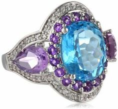 White Bronze Blue Topaz Amethyst and Cubic Zirconia Ring #unusualengagementrings
